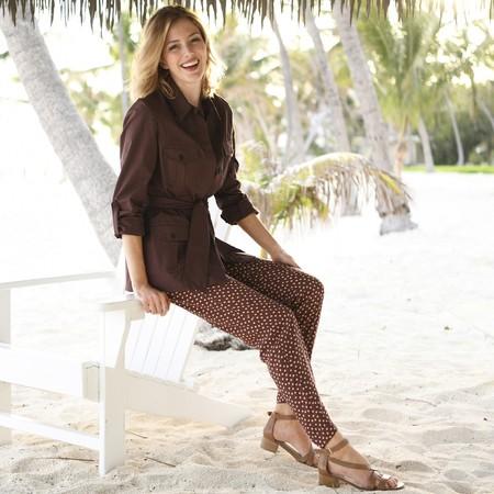 60% de descuento en los  pantalones de Anne Weyburn marrones con estampado de lunares: ahora cuestan 15,19 euros en La Redoute