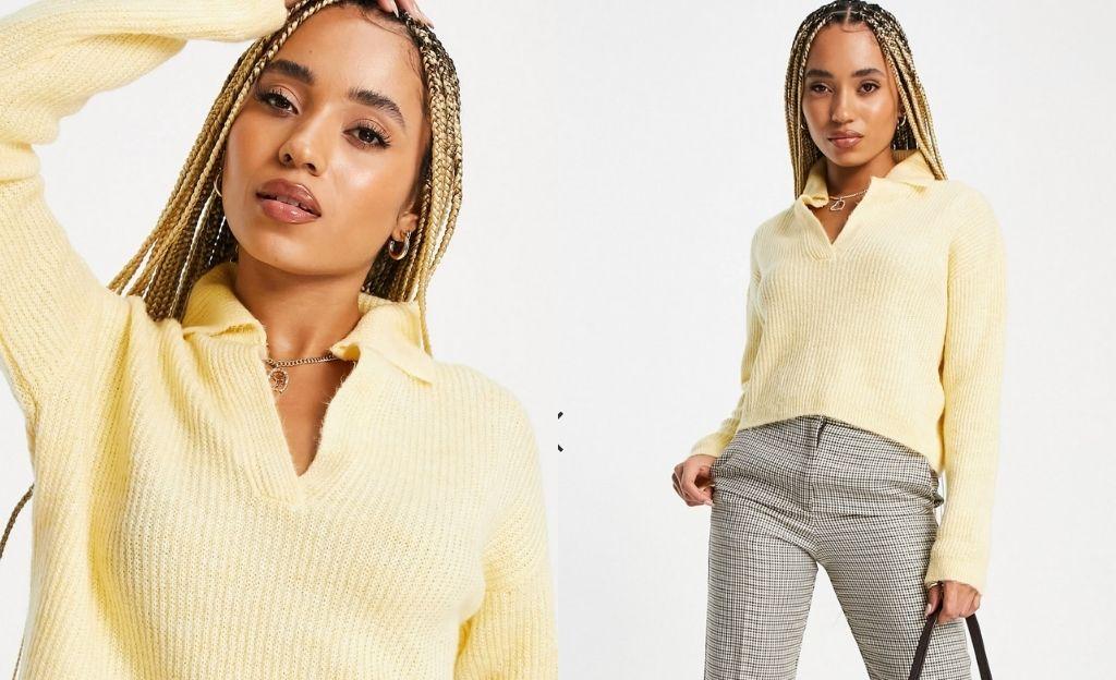 Jersey cuello polo amarillo