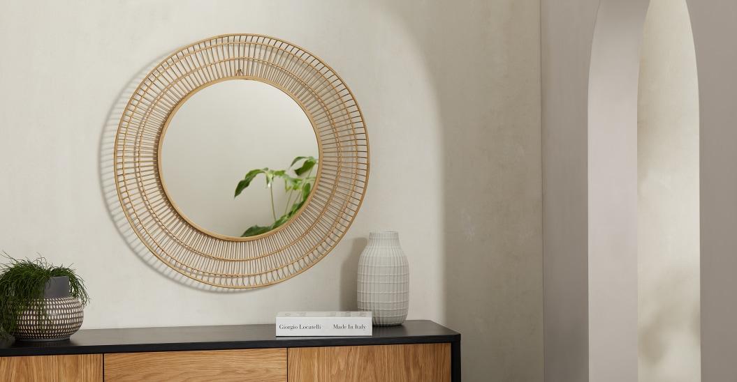 Espejo de pared redondo de bambú