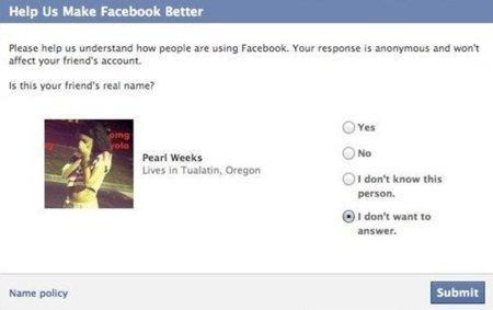 """Facebook pregunta a los usuarios si algunos de sus """"amigos"""" usan nombres falsos"""