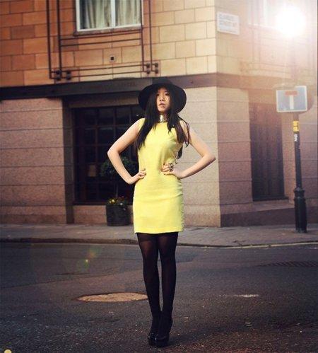 Amarillo vestido fiesta