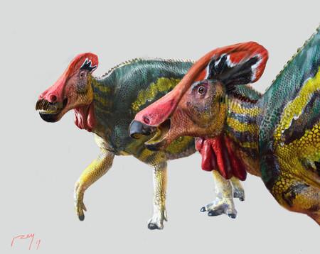 """El dinosaurio """"parlanchín"""": una nueva especie descubierta en México tenía una """"trompeta interna"""" y lucía colores muy vistosos, según unos paleontólogos"""
