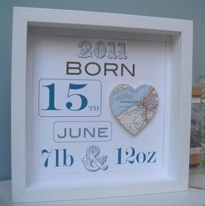 Cuadros personalizados con los datos de nacimiento del bebé