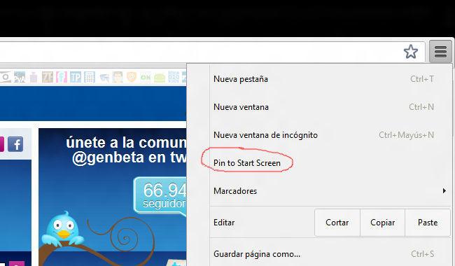 Chrome metro UI Pin to Start Screen