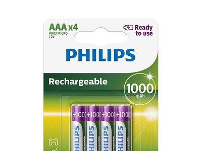 Pack de 4 pilas recargables Philips HR03, de 1.000 mAh, por 5,19 euros y envío gratis