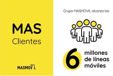 El grupo MásMóvil alcanza los 6 millones de clientes en móvil a un ritmo de más de 100.000 nuevas altas al mes