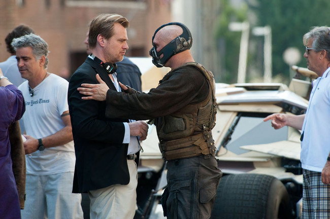 Christopher Nolan y Tom Hardy en el rodaje de Dark Knight Rises