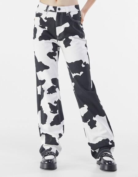 Jeans straight high waist animal print