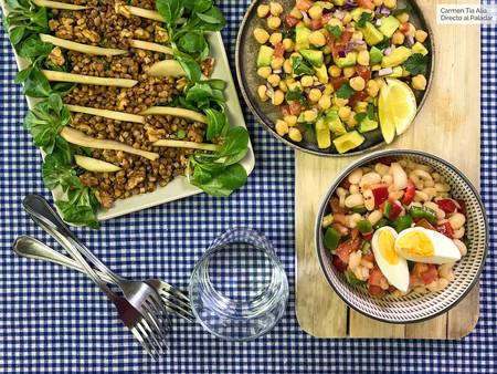Ensaladas con legumbres: tres recetas fáciles y rápidas (que traemos en vídeo)