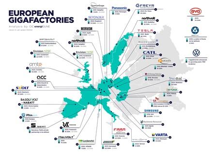 Este mapa muestra los planes europeos para fabricar baterías para coches eléctricos, con Alemania y Noruega a la cabeza