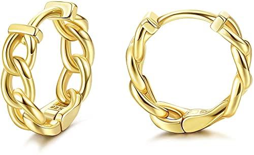 Aros con diseño de eslabones dorados