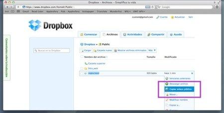 Enlace público Dropbox