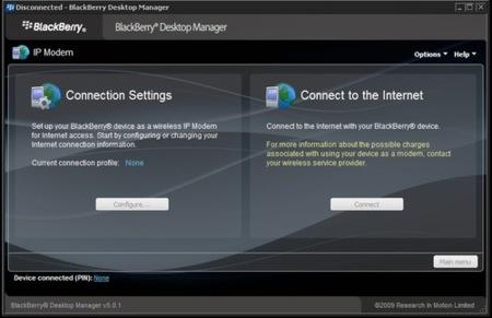 BlackBerry Desktop Manager permite usar el móvil como módem