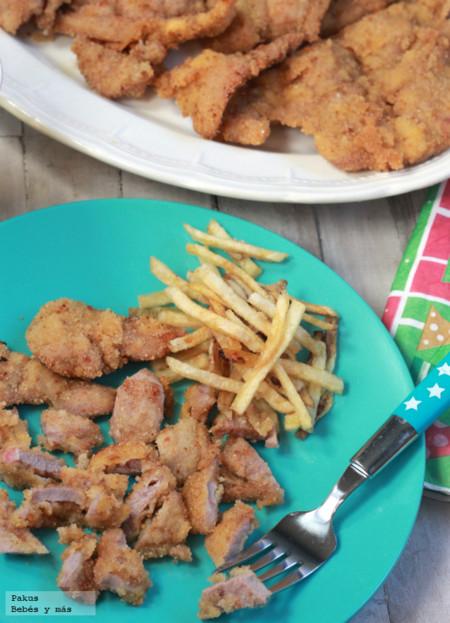 Filetes empanados de cordero. Receta para niños