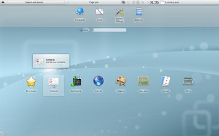 Interfaz de Plasma para Netbooks. Podéis ver la nueva bandeja del sistema en la barra de arriba.