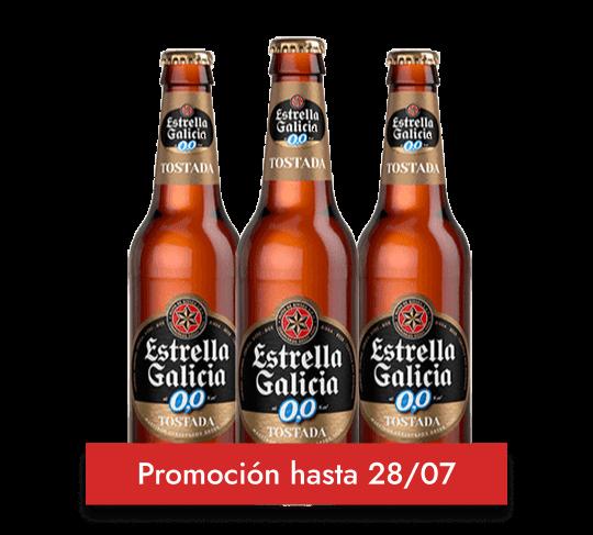 CERVEZA SIN ALCOHOL ESTRELLA GALICIA 0,0 TOSTADA PACK 24 BOTELLAS DE 25CL