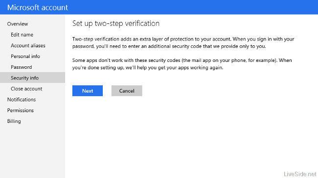 Verificación en dos pasos de cuentas Microsoft