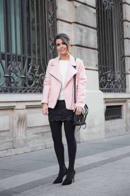 chaqueta biker rosa