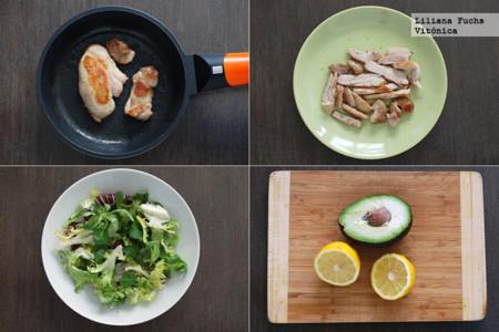 Ensalada de pollo y aguacate con vinagreta de cítricos. Pasos