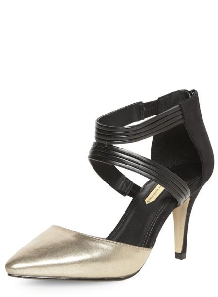 Zapatos Dorados Y Negros