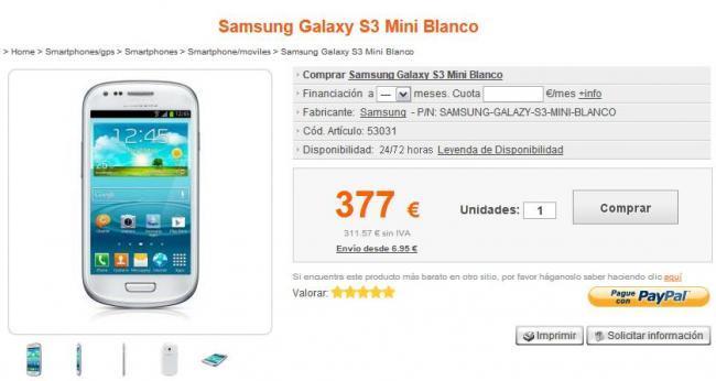 Samsung Galaxy SIII Mini Precios