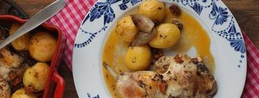 Pollo asado con chorizo y patatitas, receta para una comida de diario fácil y sabrosa