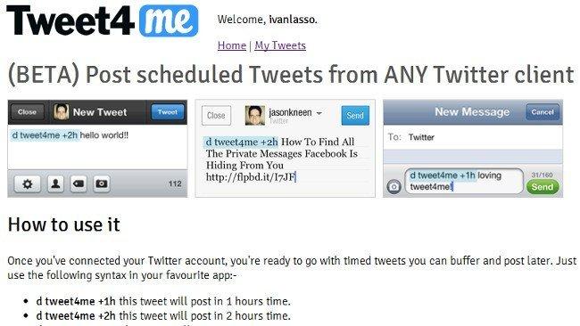 Tweet4me, un servicio para programar tweets desde cualquier cliente