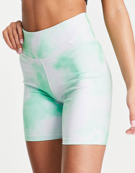 Leggings Cortos Verdes De 7 22 Y Talle Medio Con Efecto Tie Dye De Nike