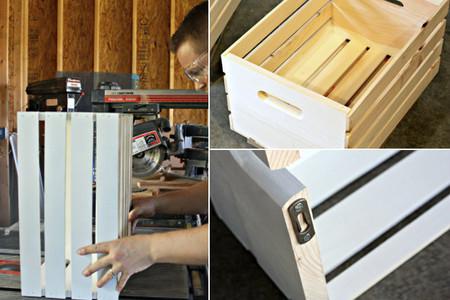 Cajas de madera como estanterías