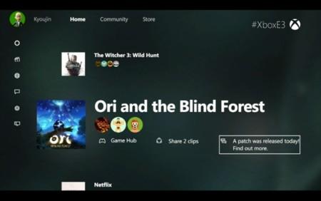 Este es el nuevo dashboard de Xbox One, sin live tiles y con Cortana