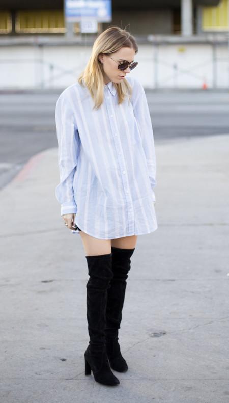 Un estilo para cada día de la semana (15) enero 2014 camisa oversize rayas azul