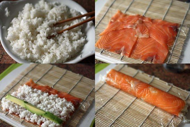 sushi de salmón y aguacate. Pasos
