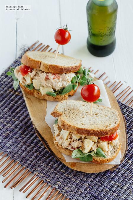 Sándwich de atún y alcachofa