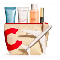 Kit de 4 productos tamaño viaje con neceser Clarins por 29 euros y envío gratis