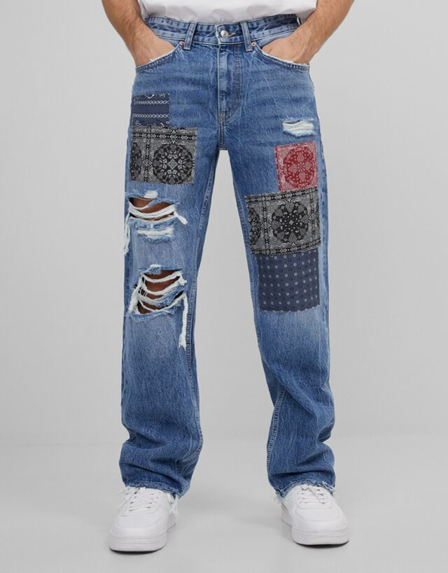 Pantalón corte 90's en denim con detalle de patchwork