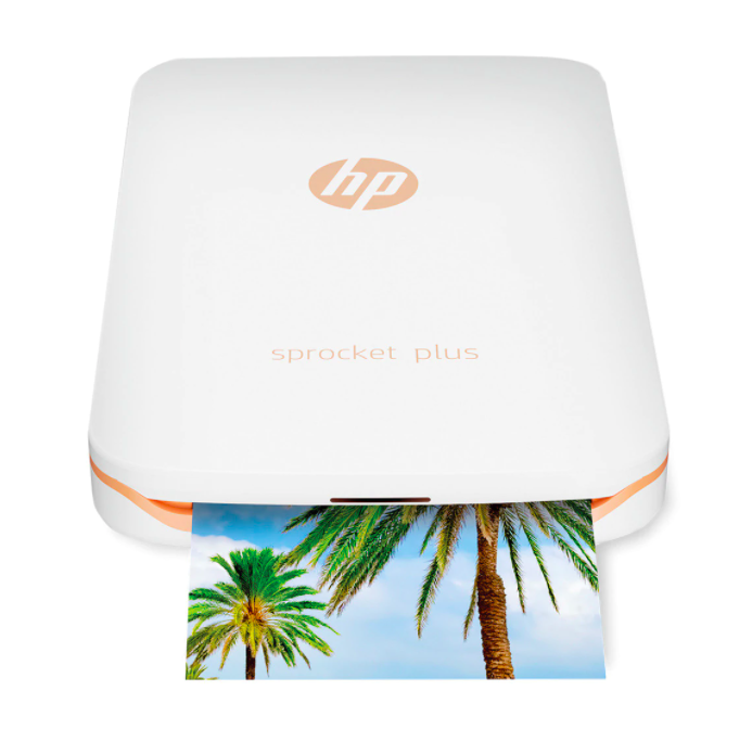 Impresora fotográfica portátil HP Sprocket Plus Blanca + Funda dorada