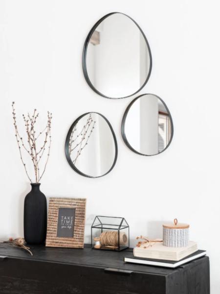 Espejos Ovalados De Metal Negro X3 43x39 Apaja