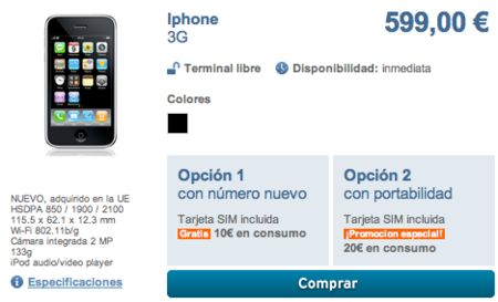 iPhone 3G libre disponible en Simyo por 599€