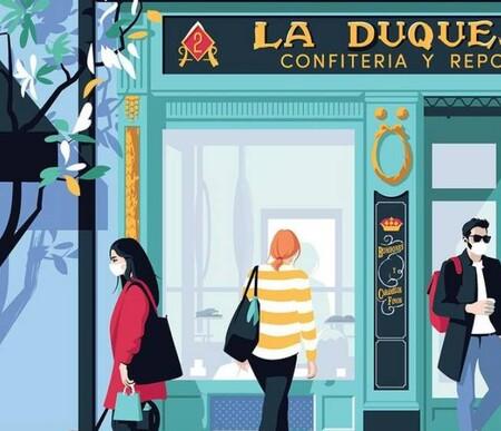 El Chico Llama, el ilustrador que ensalza el pequeño comercio y la recuperación local de Madrid durante la pandemia a través del arte