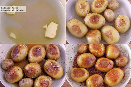 Patatas de guarnición caramelizadas a la naranja y vino tinto. Receta de Navidad. Pasos
