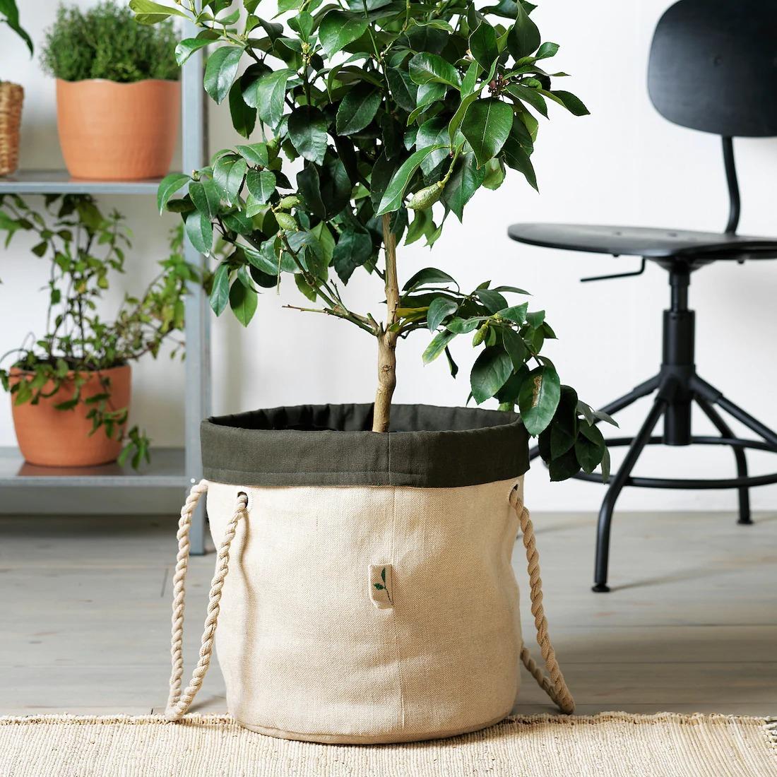 Bolsa de jardinería, beige, verde oscuro a mano, 32 cm