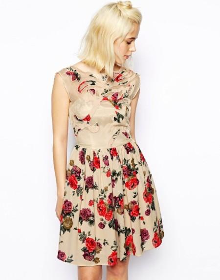 vestido prin floral asos