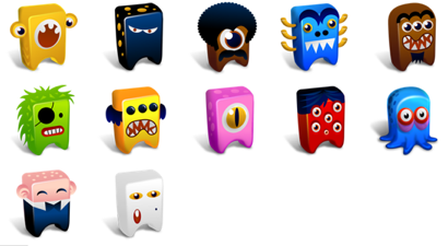 Set de iconos de Monstruitos