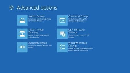 Opciones avanzadas en Windows 8