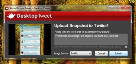 DesktopTweet nos permite compartir capturas de pantalla en Twitter rápidamente