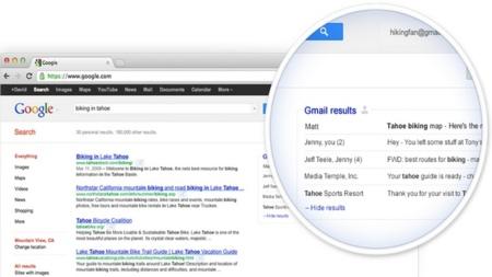 Google prueba a incluir los resultados de nuestros correos de Gmail en los de su buscador