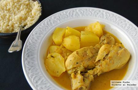 Receta de muslitos de pollo al azafrán con patatas