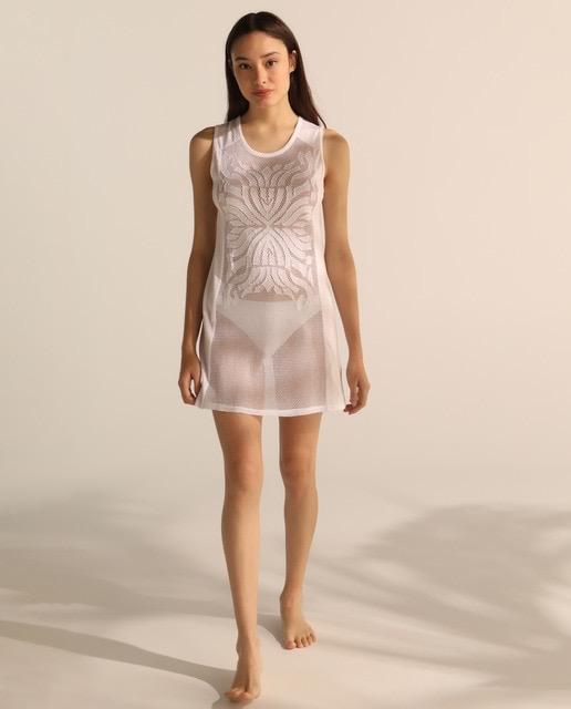 Vestido blanco corto algodón liso