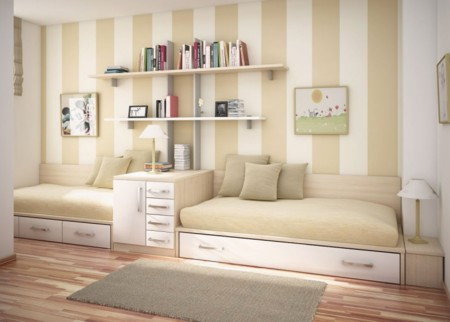 Neutral Kids Room Ideas With Double Bed