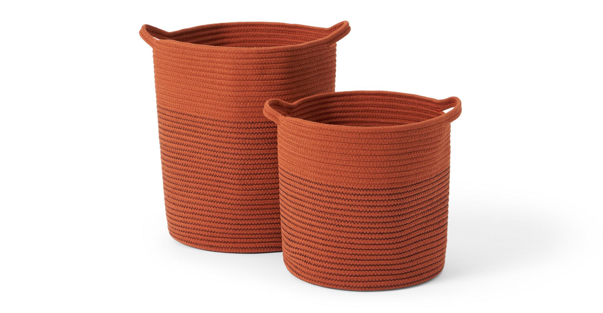 Juego de 2 cestas grandes con asas Toro, naranja tostado